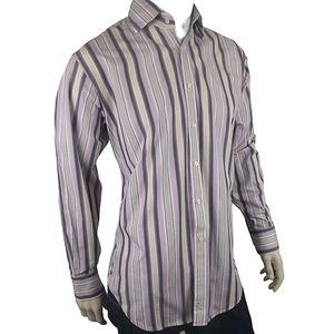 Tailorbyrd Purple Gray Stripe Dress Shirt Size L